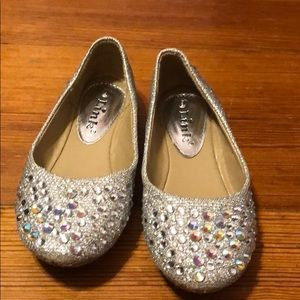 Studded toddler girls ballet shoes.